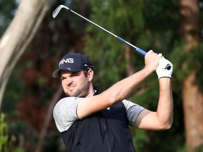 Corey Conners of Canada hits his tee shot on the 13th hole during the final round of the Zozo Championship at Accordia Golf Narashino Country Club on Oct. 28, 2019 in Inzai, Chiba, Japan.