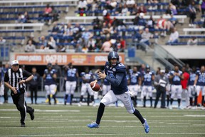 Argos quarterback Michael O'Connor prepares to make a throw during pre-season action in May. O'Connor and Dakota Prukop are expected to see playing time down the stretch.(THE CANADIAN PRESS FILES)