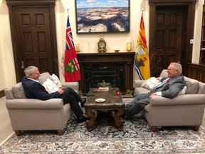 Ontario Premier Doug Ford hosted New Brunswick Premier Blaine Higgs at Queen's Park on Sunday, Oct. 27 2019.