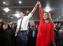Liberal Leader Justin Trudeau in seen on stage with Nirmala Naidoo, Liberal candidate for Calgary Skyview, during a rally held late Saturday evening at the Magnolia Banquet Hall during the last days of the federal election campaign.