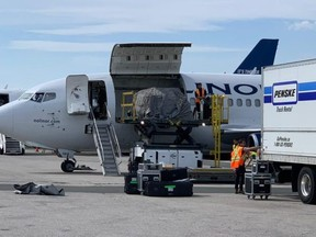 Liberal Leader and Prime Minister has been using two planes on the campaign trail, a 737-800 chartered from Air Transat and this gas guzzling Boeing 737-200 cargo freighter. (Conservative.ca)