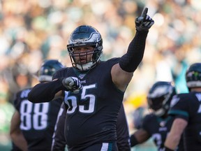 Lane Johnson of the Philadelphia Eagles reacts after a touchdown against the Chicago Bears in the third quarter at Lincoln Financial Field on November 3, 2019 in Philadelphia, Pennsylvania.
