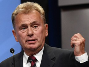 Wheel of Fortune host Pat Sajak speaks as he is inducted into the National Association of Broadcasters Broadcasting Hall of Fame in Las Vegas on April 9, 2018. (Getty Images)