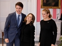 Chrystia Freeland poses with Prime Minister Justin Trudeau and Gov.-Gen. Julie Payette after being sworn-in as deputy prime minister in Ottawa on Nov. 20, 2019. (Reuters)