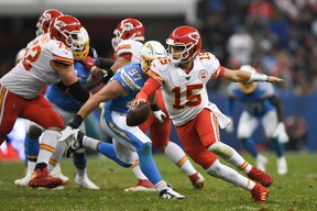 Kansas City Chiefs quarterback Patrick Mahomes is well short of his statistical totals from last season. (GETTY IMAGES)