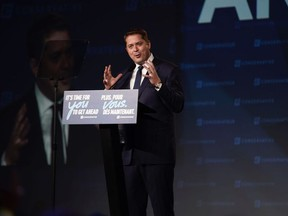 Conservative leader Andrew Scheer makes his concession speech on stage after being defeated by the Liberal Party at an election night rally in Regina, Saskatchewan on October 22, 2019.