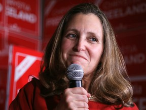 Liberal MP and Canada's Foreign Minister Chrystia Freeland speaks with supporters following the federal election results in Toronto, October 21, 2019. (REUTERS/Chris Helgren)