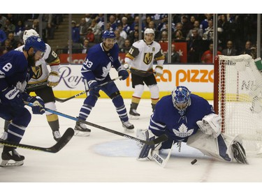 Toronto Maple Leafs Frederik Andersen G (31) makes a huge point blank save during the OT as the Las Vegas Knights were on the power play in Toronto on Thursday November 7, 2019. Jack Boland/Toronto Sun/Postmedia Network