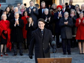 Prime Minister Justin Trudeau speaks during a news conference after presenting his new cabinet, at Rideau Hall in Ottawa, on Wednesday, Nov. 20, 2019.