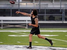Colin Kaepernick is seen at a special training event created by Kaepernick to provide greater access to scouts, the media, and the public, at Charles. R. Drew High School in Riverdale, Georgia, U.S., November 16, 2019.