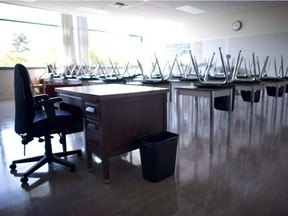 A empty teacher's desk is pictured in an empty classroom at Mcgee Secondary school in Vancouver on Sept. 5, 2014.