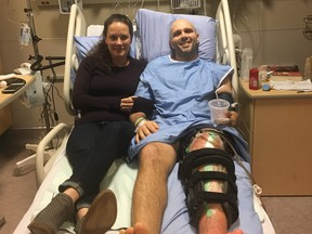 Skier Manuel Osborne-Paradis in the hospital with wife Lana. (Supplied Photo)