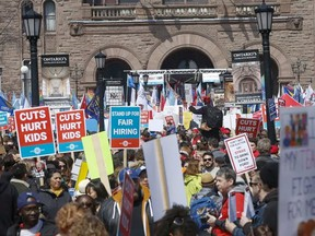 A rally at Queen's Park in spring 2019 saw thousands of teachers, students and unions come out to protest various education cuts, including increases to class sizes.