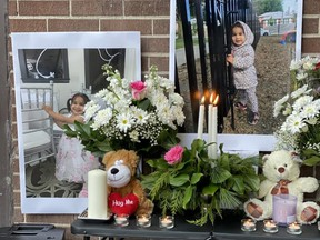 A vigil was held at 3847 Lawrence Ave. E. on Saturday, Nov. 16, 2019, for Crystal Mirogho, a two-year-old girl who was killed when an air conditioner fell from an eighth-floor apartment window at her TCHC highrise in Scarborough on Remembrance Day. (Sue-Ann Levy/Toronto Sun/Postmedia Network)