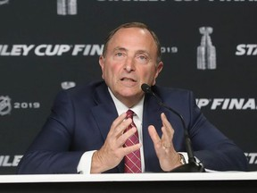 Commissioner Gary Bettman of the National Hockey League speaks with the media prior to Game One of the 2019 NHL Stanley Cup Final at TD Garden on May 27, 2019 in Boston, Massachusetts.