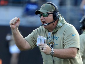 Head coach Doug Marrone of the Jacksonville Jaguars reacts to a touchdown against the Tampa Bay Buccaneers at TIAA Bank Field on December 1, 2019 in Jacksonville. (Sam Greenwood/Getty Images)