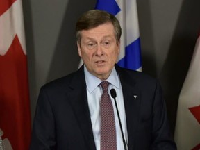 Toronto Mayor John Tory speaks at a press conference at City Hall on Tuesday, Nov. 26, 2019. (Bryan Passifiume/Toronto Sun/Postmedia Network)