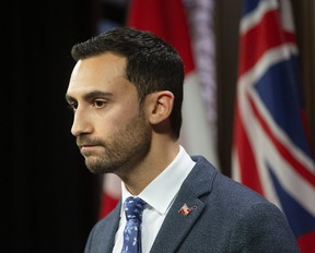 Ontario Education Minister Stephen Lecce at Queens Park in Toronto, Ont. on Friday, Dec. 6, 2019. (Stan Behal/Toronto Sun/Postmedia Network)