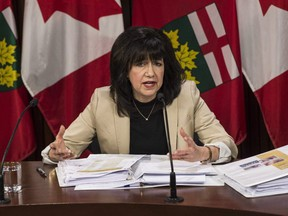 Ontario Auditor General Bonnie Lysyk speaks during a press conference at Queens Park after the release of her 2019 annual report in Toronto on Wednesday, Dec. 4, 2019. (THE CANADIAN PRESS/Aaron Vincent Elkaim)