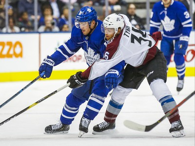 Toronto Maple Leafs Andreas Johnsson during 1st period action against Colorado Avalanche T.J. Tynan  at the Scotiabank Arena in Toronto on Wednesday December 4, 2019. Ernest Doroszuk/Toronto Sun/Postmedia