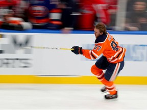 Connor McDavid of the Edmonton Oilers competes in the Bridgestone NHL Fastest Skater during the 2020 NHL All-Star Skills Competition at Enterprise Center on January 24, 2020 in St Louis, Missouri.