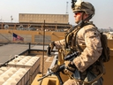 This handout image -- released courtesy of the U.S. defence department -- shows a soldier with 2nd Battalion, 7th Marines, assigned to the Special Purpose Marine Air-Ground Task Force-Crisis Response-Central Command,  reinforcing the Baghdad Embassy compound in Iraq on January 3, 2020