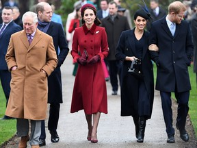 In this file photo taken on Dec. 25, 2018, (L-R) Britain's Prince Charles, Prince of Wales;  Prince William, Duke of Cambridge; Catherine, Duchess of Cambridge; Meghan, Duchess of Sussex; and Prince Harry, Duke of Sussex arrive for a Christmas Day service in Norfolk,  Britian. (AFP/Getty Images)