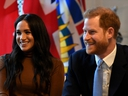 Britain's Prince Harry and his wife, Meghan, Duchess of Sussex, visit Canada House in London, Britain on January 7, 2020. (Reuters)