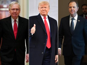 From left to right, U.S. Senate Majority Leader Mitch McConnell (R-KY), U.S. President Donald Trump, and U.S. Representative Adam Schiff (D-CA).