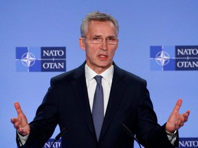 NATO Secretary General Jens Stoltenberg briefs media after a meeting of the Alliance's ambassadors over the security situation in the Middle East, in Brussels, Belgium, on Monday, Jan. 6, 2020.