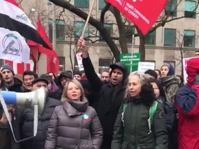 NDP MPPs Marit Stiles and Rima Berns-McGown are pictured at a rally outside the U.S. Consulate on Saturday where dead Iranian terrorist Qasem Soleimani was celebrated.  Both elected officials showed up at the rally outside the U.S. Consulate on University Ave. where protesters showed support for Soleimani