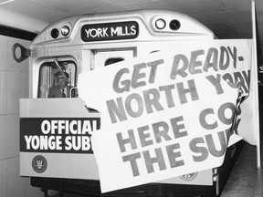 """In this view from the TTC Archives taken on March 31, 1973, mayor David Crombie """"pilots"""" the first train into the Yonge subway's newly opened York Mills subway station. Two days short of a full year later the new Finch station (historically, two concession roads or 2.5 miles to the north) opened."""