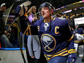 Buffalo Sabres' Jack Eichel takes to the ice for warmups before a game against the Detroit Red Wings at KeyBank Center on Feb. 11, 2020 in Buffalo, N.Y. (Timothy T Ludwig/Getty Images)