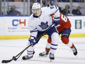 Zach Hyman of the Toronto Maple Leafs skates with the puck against the Florida Panthers during the first period at BB&T Center on February 27, 2020 in Sunrise, Florida.
