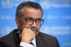 World Health Organization (WHO) Director-General Dr. Tedros Adhanom Ghebreyesus attends a daily press briefing on COVID-19, the novel coronavirus, at the WHO headquarters on Friday.