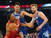 Feb 16, 2020; Chicago, Illinois, USA; Team Giannis guard Kyle Lowry of the Toronto Raptors drives against Team LeBron forward Domantas Sabonis of the Indiana Pacers and Devin Booker of the Phoenix Suns during the third quarter of the 2020 NBA All Star Game at United Center. Mandatory Credit: Kyle Terada-USA TODAY Sports ORG XMIT: USATSI-425069