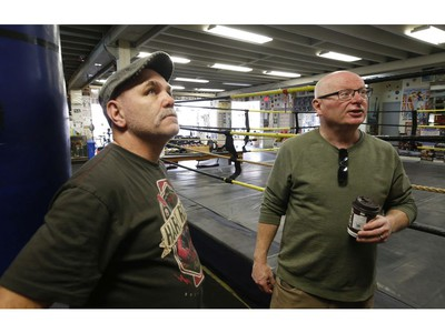 Toronto Sun's Steve Buffery and John Kalbhenn (L) who started training at Cabbagetown Boxing Club as an amateur boxer, made it to the 1982 Commonwealth Games and the 1984 Olympics, and was a professional lightweight Champion of Canada. Kalbhenn, an assistant trainer at the club, speaks about the past present and future of the club in Toronto on Wednesday February 12, 2020. Jack Boland/Toronto Sun/Postmedia Network