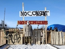 Supporters of the indigenous Wet'suwet'en Nation's hereditary chiefs camp at a railway blockade as part of protests against British Columbia's Coastal GasLink pipeline, in Edmonton, Alberta, Canada February 19, 2020.