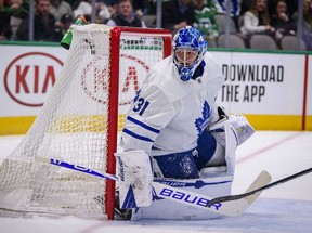 Toronto Maple Leafs goaltender Frederik Andersen in action during the game between the Stars and the Maple Leafs at the American Airlines Center.