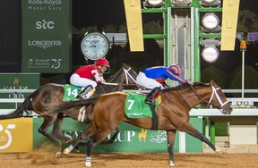 Jockey Luis Saez (right) rides his horse Maximum Security as he competes in the $20 million US race, the final race of the Saudi Cup -- the world's richest horserace -- at the King Abdulaziz Racetrack in Jenadriyah near the Riyadh, Saudi Arabia. (Getty images)