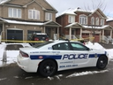 Peel Regional Police on Monday, Feb. 10, 2020 at the scene of a fatal stabbing the day before in the basement apartment of a home on Roadside Way in Mississauga. (Kevin Connor/Toronto Sun)