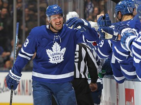 Frederik Gauthier of the Toronto Maple Leafs celebrates a goal against the Vancouver Canucks during an NHL game at Scotiabank Arena on Feb. 29, 2020, in Toronto.
