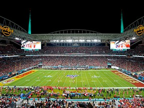 A view of the stadium during the opening kickoff of Super Bowl LIV between the San Francisco 49ers and the Kansas City Chiefs at Hard Rock Stadium. Kirby Lee-USA TODAY Sports