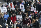 A rally in support of Wet'suwet'en hereditary chiefs saw demonstrators march from Queen's Park to City Hall on Saturday, Feb. 22, 2020. (Veronica Henri/Toronto Sun/Postmedia Network)