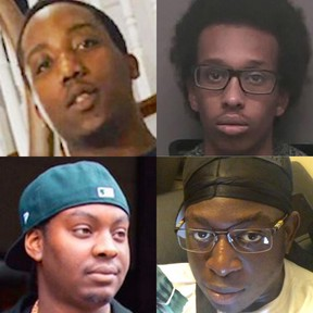 (Clockwise from top left) Four Toronto rappers have been killed in gun violence since Dec. 23, 2019 — Tyronne Noseworthy, 19, aka Fourty4Double0 of the Tallup Twinz; Farah Hersi Handule, 23, aka 22 Filthy; Keeshawn Brown, 18, aka Why-S; and Jahquar Stewart, 24, aka Bvlly.