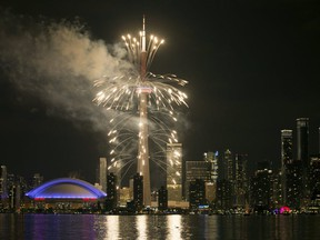 File photo of Toronto Skyline lit up by fireworks.
