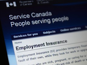 Canada Service centre documents that display Employment Insurance options are pictured in Ottawa on Tuesday, July 7, 2015.