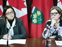 Dr. Eileen de Villa, medical officer of health for the City of Toronto(L) and Dr. Barbara Yaffe,   Associate Chief Medical Officer of Health for Ontario, provide an update on the coronavirus on March 11, 2020. (Veronica Henri, Toronto Sun)