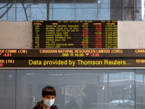 Monitors dMonitors display the stock market numbers in the financial district as the number of novel coronavirus cases continues to grow in Toronto, March 16, 2020. (REUTERS/Carlos Osorio)isplay the stock market numbers in the financial district as the number of novel coronavirus cases continues to grow in Toronto, Ontario, Canada March 16, 2020.  REUTERS/Carlos Osorio