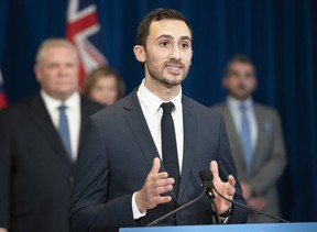 Ontario Education Minister Stephen Lecce answers questions at the daily briefing at Queen's Park in Toronto on Tuesday March 31, 2020. THE CANADIAN PRESS/Frank Gunn